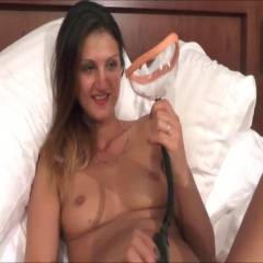 Pussy Pumping - Big Tits, Brunette Hair, Masturbation, Shaved, Toys , I Was Given This New Toy.. Its A Pussy Pump And Sucks Your Pussy Out... Was A Funny Feeling But After I Need To Play With Myself As It Really Turned Me On .. 