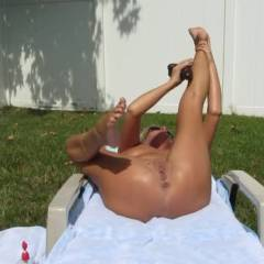 Masturbating in The Backyard - Blonde Hair, Masturbation, Shaved, Toys , I Am Submitting This Video In Response To The Overwhelming Amount Of Positive Feedback And Requests From My 2 RedClouds Contris Of This Session. This Is My First Video Submission, EVER!! I Am Very EXCITED To Have People See Me CUM!! The Video Is Just Me Tanning In My Backyard And Getting Myself Off, TWICE!! I Hope You Get Off Too!!!