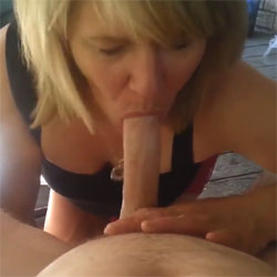Heather Devouring My Cock In The Backyard - Big Tits, Blonde, Blowjob, Outdoors, Amateur