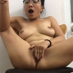 Playing With My Asian MILF Pussy - Nude Girls, Asian, Big Tits, Brunette, Bush Or Hairy, Amateur, Legs Spread Wide Open